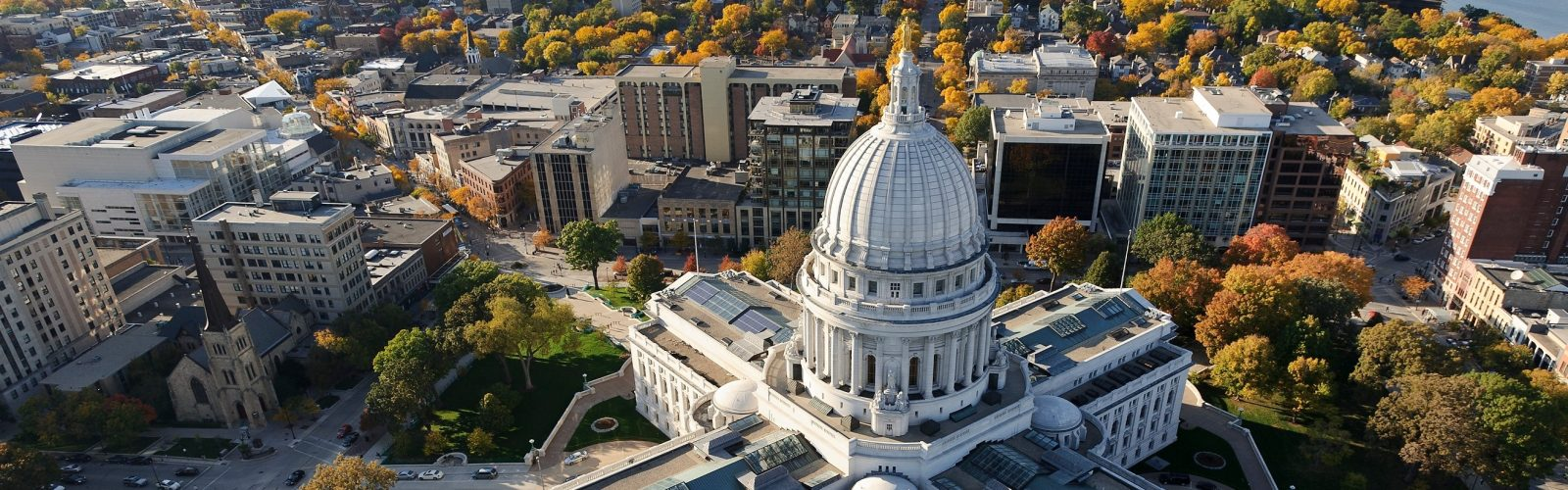 aerial view of Wisconsin Capitol